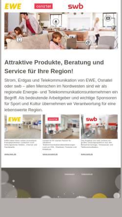Vorschau der mobilen Webseite www.udg-ewe.de, EWE Urbanisation Dienstleistungs GmbH