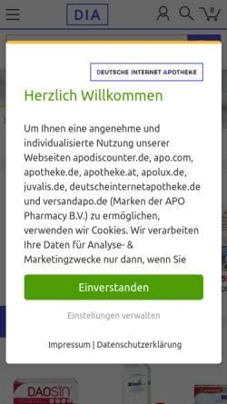 Vorschau der mobilen Webseite www.deutscheinternetapotheke.de, Deutsche Internet Apotheke - Martinus-Apotheke