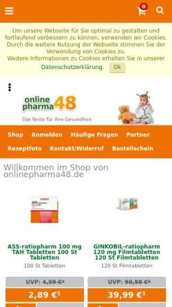 Vorschau der mobilen Webseite www.onlinepharma48.de, onlinepharma48, Marienbrunnapotheke Leipzig