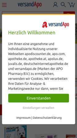 Vorschau der mobilen Webseite www.versandapo.de, versandapo.de, Pelikan-Apotheke Frankenthal