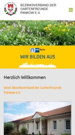 Vorschau der mobilen Webseite www.kleingarten-pankow.de, Bezirksverband der Kleingärtner Pankow e.V.