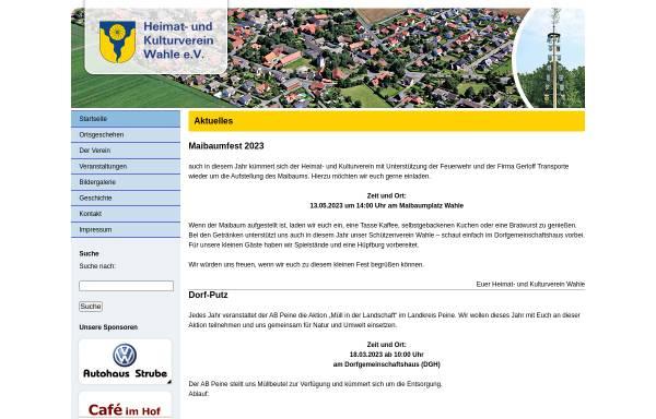 Vorschau von www.wahle-kultur.de, Heimat- und Kulturverein Wahle e.V.