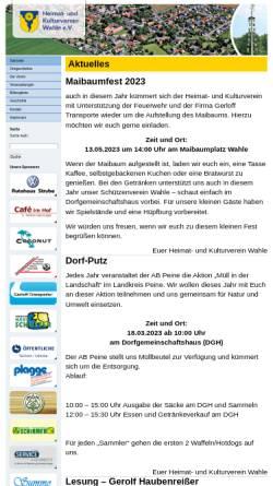 Vorschau der mobilen Webseite www.wahle-kultur.de, Heimat- und Kulturverein Wahle e.V.