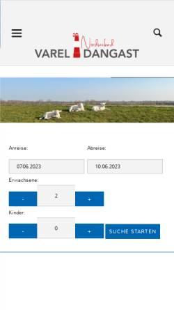 Vorschau der mobilen Webseite www.dangast.de, Nordseebad Dangast