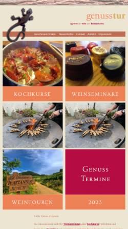 Vorschau der mobilen Webseite www.genusstur.de, Genusstur - Agentur für Wein und Kulinarisches