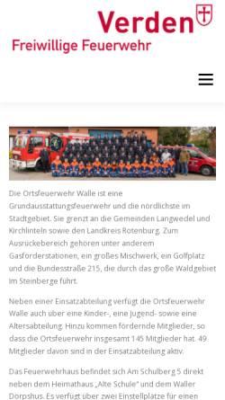 Vorschau der mobilen Webseite www.feuerwehr-walle.de, Freiwillige Feuerwehr Walle