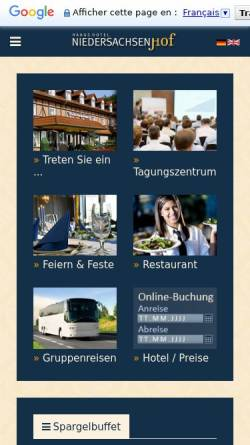 Vorschau der mobilen Webseite www.niedersachsenhof-verden.de, Hotel Niedersachsenhof