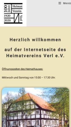 Vorschau der mobilen Webseite www.verlerland.de, Heimatverein Verl e.V.