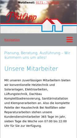 Vorschau der mobilen Webseite www.philipp-haustechnik.de, Philipp GmbH & Co KG