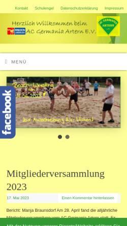 Vorschau der mobilen Webseite www.ac-germania.com, AC Germania Artern e.V.