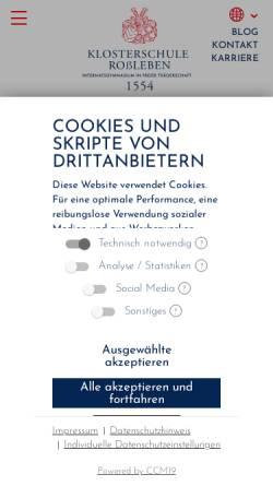 Vorschau der mobilen Webseite www.klosterschule.de, Klosterschule Roßleben