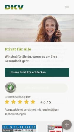 Vorschau der mobilen Webseite www.dkv.com, Deutsche Krankenversicherung AG (DKV)