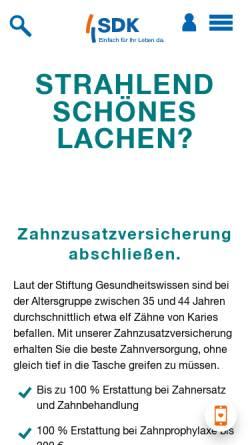 Vorschau der mobilen Webseite www.sdk.de, Süddeutsche Krankenversicherung a.G.