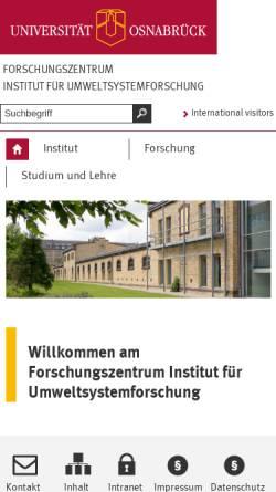 Vorschau der mobilen Webseite www.usf.uni-osnabrueck.de, Institut für Umweltsystemforschung und Studium der Systemwissenschaft