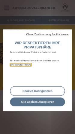 Vorschau der mobilen Webseite www.citroen-haendler.de, Autohaus Vallorani Citroen
