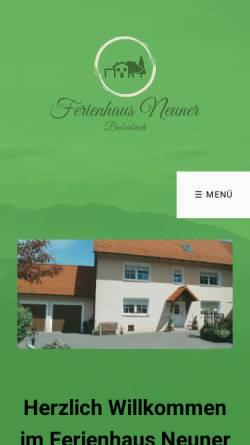 Vorschau der mobilen Webseite www.ferienhausneuner-franken.de, Ferienhaus Neuner