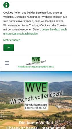 Vorschau der mobilen Webseite wve.de, Wirtschaftsvereinigung Ehrenkirchen e.V.