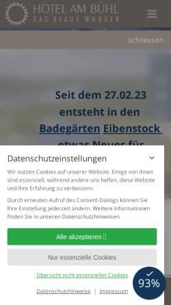 Vorschau der mobilen Webseite www.hotel-blaues-wunder.de, Hotel am Bühl - Das blaue Wunder