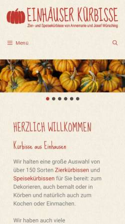 Vorschau der mobilen Webseite www.einhaeuser-kuerbisse.de, Einhäuser Kürbisse