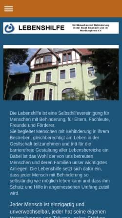 Vorschau der mobilen Webseite www.lebenshilfe-eisenach.de, Lebenshilfe des Wartburgkreises und Ortsvereinigung Eisenach e.V.