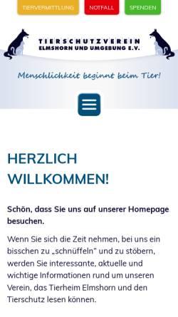 Vorschau der mobilen Webseite www.tierheim-elmshorn.de, Tierschutzverein Elmshorn u.U. e.V.