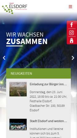 Vorschau der mobilen Webseite www.elsdorf.de, Gemeinde Elsdorf