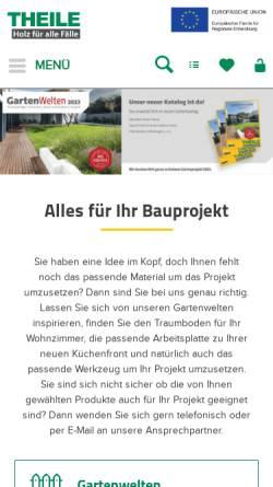 Vorschau der mobilen Webseite www.holz-zentrum-theile.de, Holz-Zentrum Theile