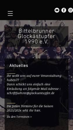 Vorschau der mobilen Webseite www.glockaestupfer.de, Bittelbrunner Glockästupfer 1990 e.V.