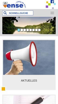 Vorschau der mobilen Webseite www.gemeinde-ense.de, Gemeinde Ense