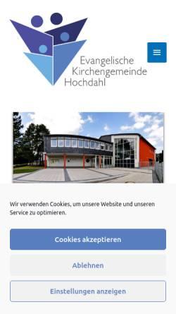 Vorschau der mobilen Webseite www.evangelischekirchehochdahl.de, Evangelische Kirchengemeinde Hochdahl