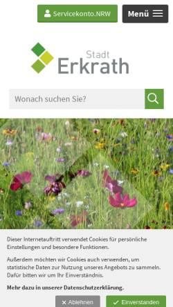 Vorschau der mobilen Webseite www.erkrath.de, Stadt Erkrath