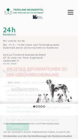 Vorschau der mobilen Webseite www.tierklinik-neandertal.de, Tierklinik Neandertal