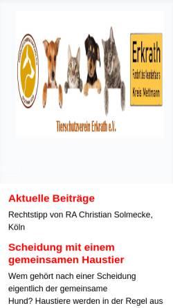 Vorschau der mobilen Webseite www.tierschutz-erkrath.de, Tierschutzverein Erkrath e.V.