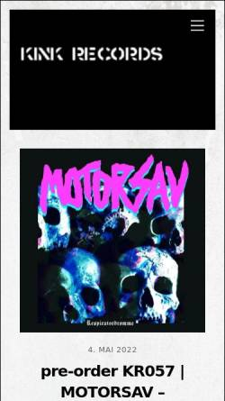 Vorschau der mobilen Webseite www.kink-records.de, Punk, Chaos und Anarchie