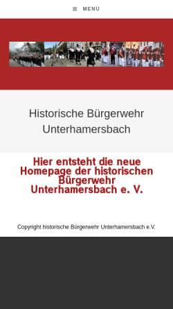 Vorschau der mobilen Webseite www.historische-buergerwehr-unterharmersbach.de, Historische Bürgerwehr Unterharmersbach