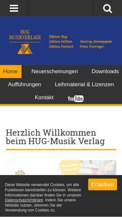 Vorschau der mobilen Webseite hug-musikverlage.ch, Hug Musikverlage