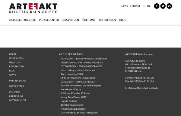 Vorschau von artefakt-berlin.de, Artefakt Kulturkonzepte