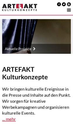 Vorschau der mobilen Webseite artefakt-berlin.de, Artefakt Kulturkonzepte