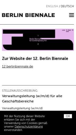 Vorschau der mobilen Webseite www.berlinbiennale.de, Berlin Biennale
