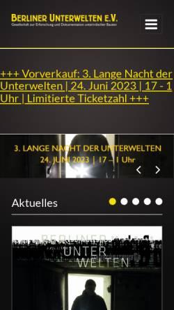 Vorschau der mobilen Webseite www.berliner-unterwelten.de, Berliner Unterwelten e.V.