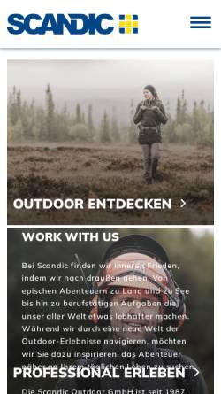 Vorschau der mobilen Webseite www.scandic.de, Scandic Outdoor GmbH, D-21220 Seevetal