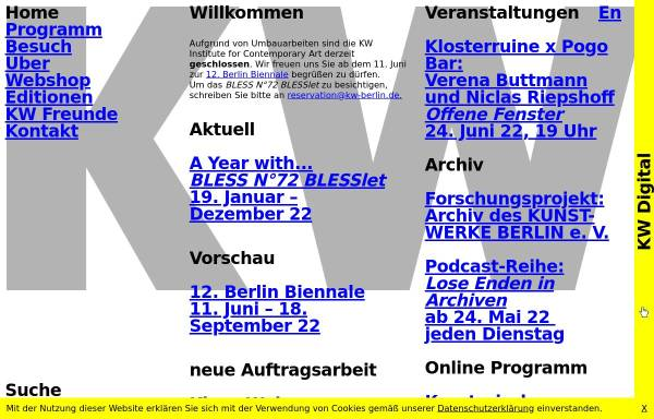 Vorschau von www.kw-berlin.de, Kunst-Werke Berlin e.V.