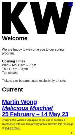 Vorschau der mobilen Webseite www.kw-berlin.de, Kunst-Werke Berlin e.V.