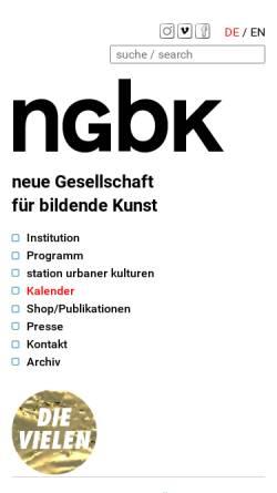 Vorschau der mobilen Webseite ngbk.de, Neue Gesellschaft für Bildende Kunst e.V. (NGBK)