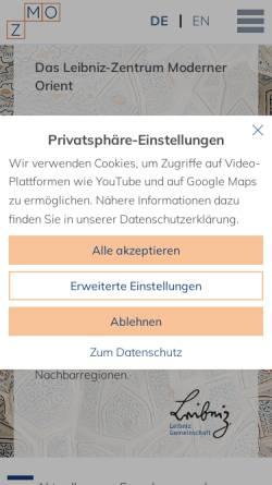Vorschau der mobilen Webseite www.zmo.de, Zentrum Moderner Orient