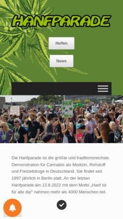 Vorschau der mobilen Webseite www.hanfparade.de, Hanfparade