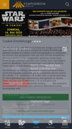 Vorschau der mobilen Webseite www.tempodrom.de, Tempodrom Berlin