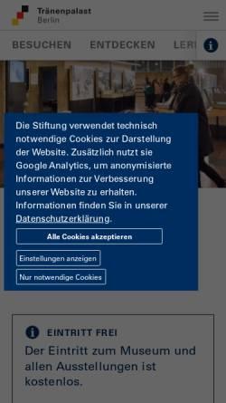 Vorschau der mobilen Webseite www.hdg.de, Tränenpalast