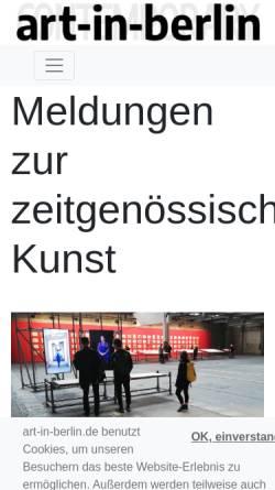 Vorschau der mobilen Webseite www.art-in-berlin.de, Art in Berlin - Kunstagentur Thomessen