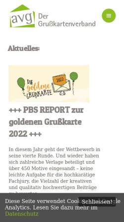 Vorschau der mobilen Webseite www.avgcard.de, AVG Arbeitsgemeinschaft der Hersteller und Verleger von Grußkarten und Glückwunschkarten